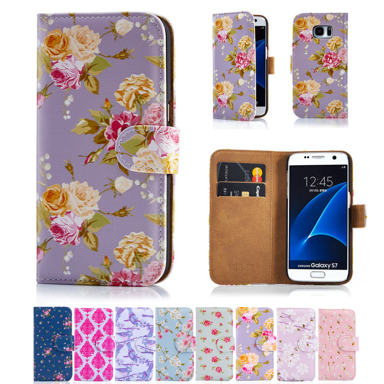 32nd synthetic leather floral design book wallet Samsung Galaxy S7 Case.