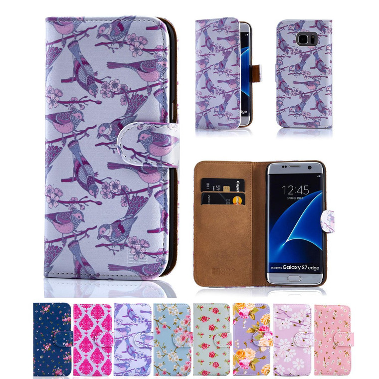 32nd synthetic leather floral design book wallet Samsung Galaxy S7 Edge Case.