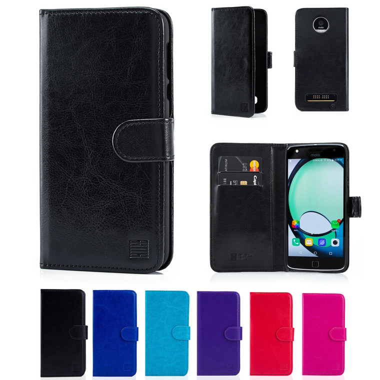 32nd synthetic leather book wallet Motorola Moto Z Play Case in a range of great colours.