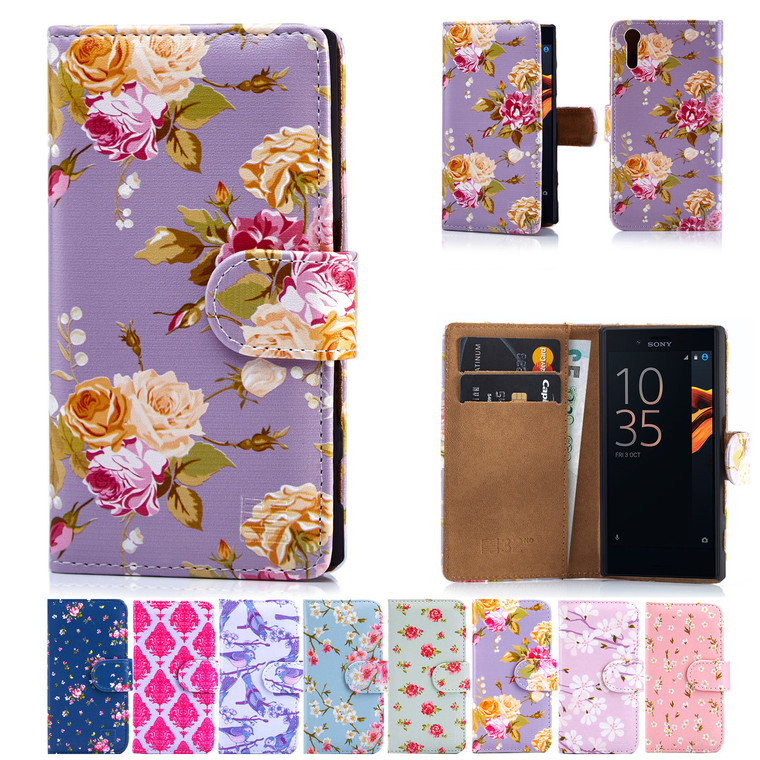 32nd synthetic leather floral design book wallet Sony Xperia XZ Case.