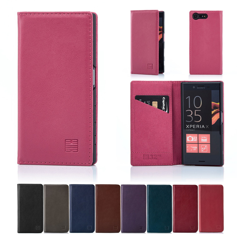 32nd real leather classic wallet Sony Xperia X Compact Case in a range of colours.