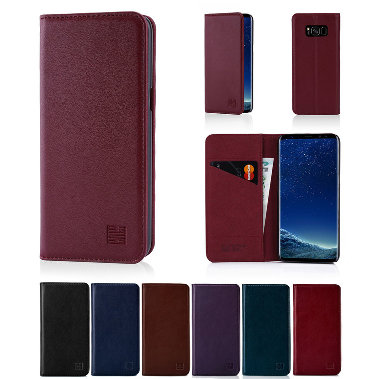 32nd real leather classic wallet Samsung Galaxy S8 Case in a range of colours.