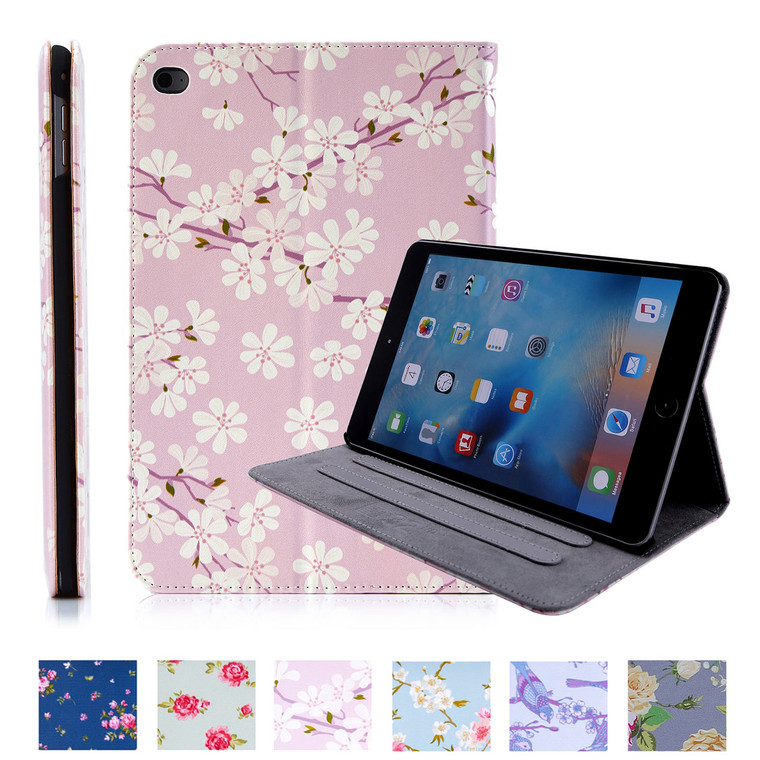 32nd synthetic leather floral design book wallet Apple iPad Mini 4 Case.