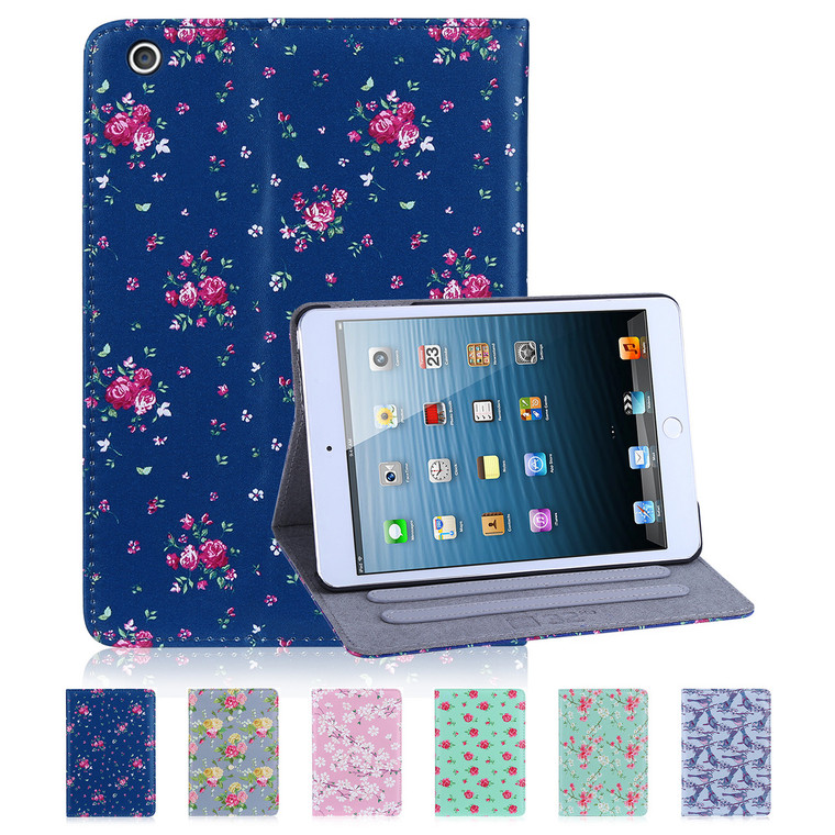 32nd synthetic leather floral design book wallet Apple iPad Mini Case.