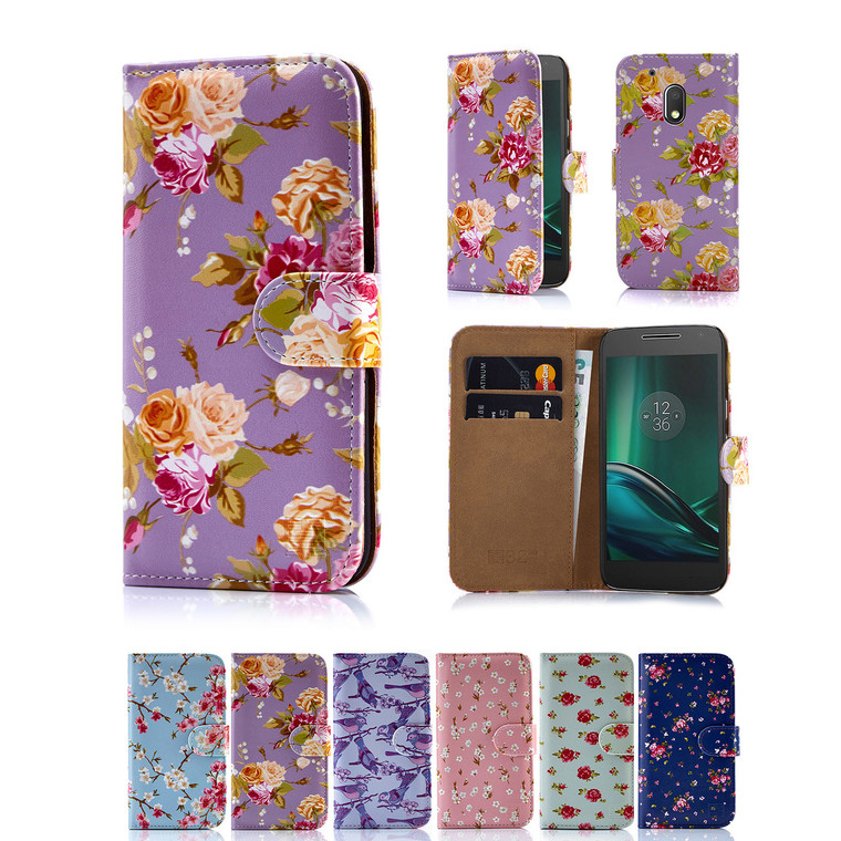32nd synthetic leather floral design book wallet Motorola Moto G4 Play Case.