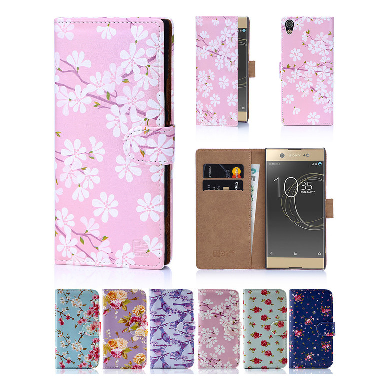 32nd synthetic leather floral design book wallet Sony Xperia XA1 Ultra Case.