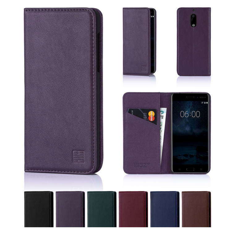 32nd real leather classic wallet Nokia 6 (2017) Case in a range of fantastic colours.