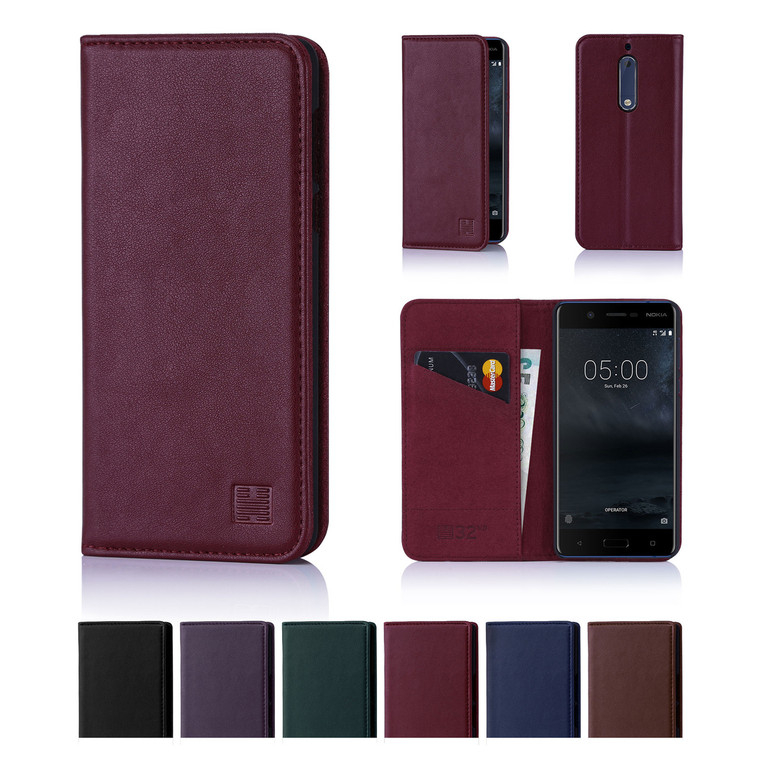32nd real leather classic wallet Nokia 5 (2017) Case in a range of fantastic colours.