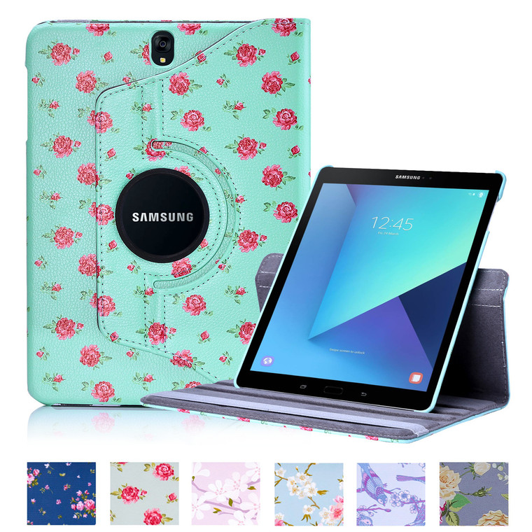 32nd synthetic leather floral design book wallet Samsung Galaxy Tab S3 Case.