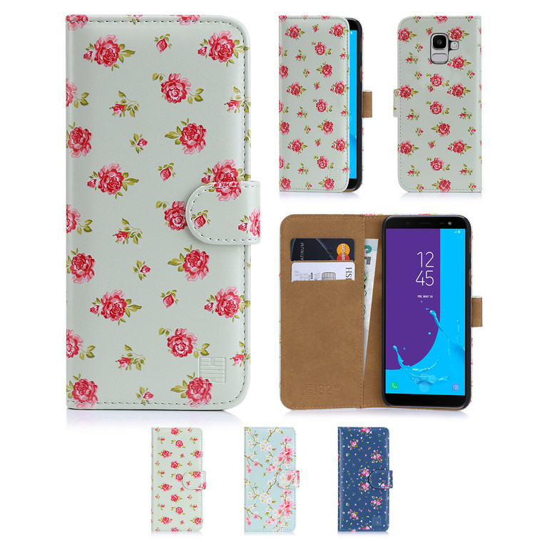 32nd synthetic leather floral design book wallet Samsung Galaxy J6 (2018) Case.