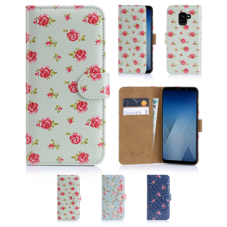 32nd synthetic leather floral design book wallet Samsung Galaxy A8 (2018) Case.