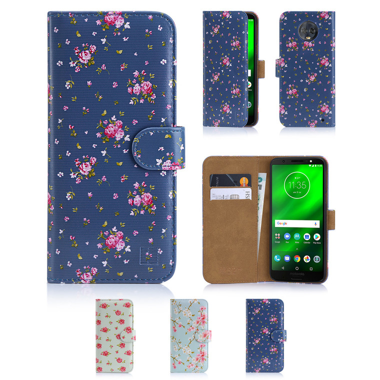 32nd synthetic leather floral design book wallet Motorola Moto G6 Plus Case.