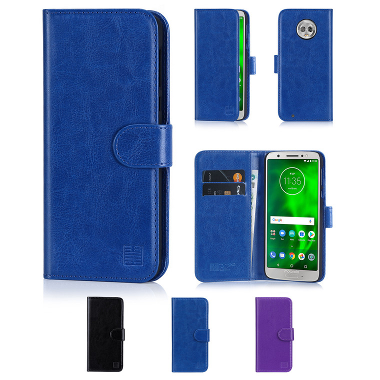 32nd synthetic leather book wallet Motorola Moto G6 Case in a range of colours.