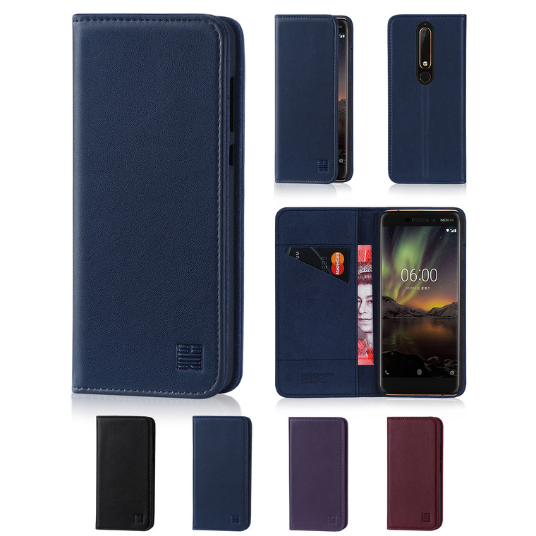 32nd real leather classic wallet Nokia 6.1 (2018) Case in a range of fantastic colours.