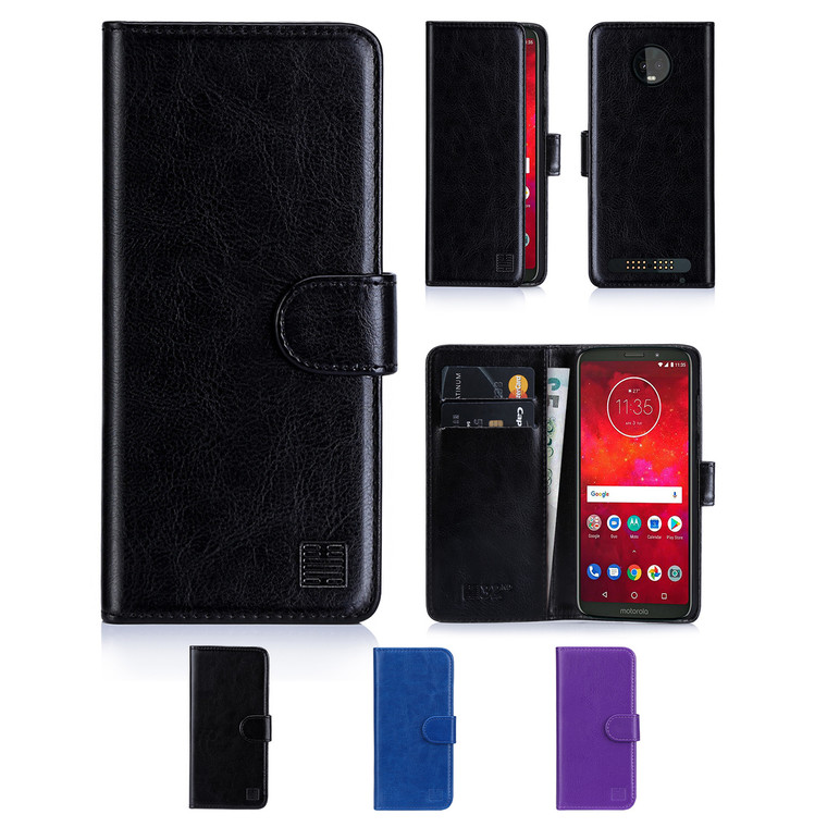 32nd synthetic leather book wallet Motorola Moto Z3 Play Case in a range of colours.