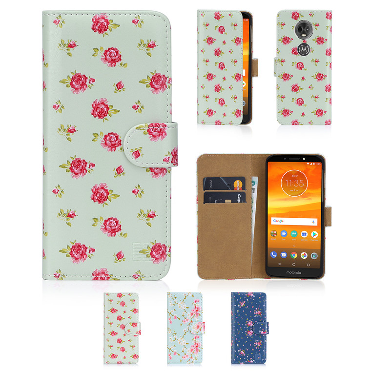 32nd synthetic leather floral design book wallet Motorola Moto E5 Case.