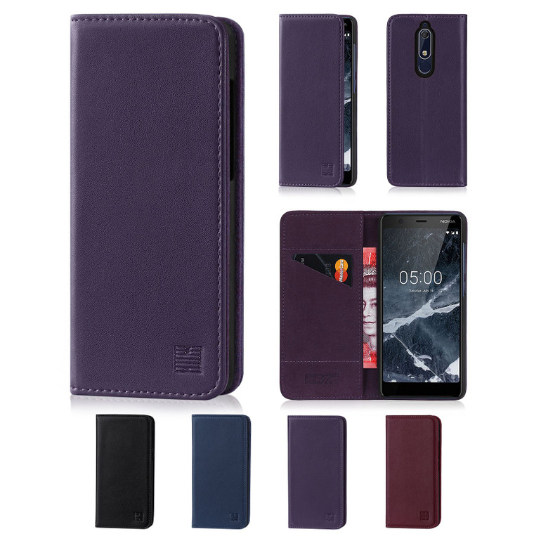 Nokia 5.1 (2018) 'Classic Series' Real Leather Book Wallet Case