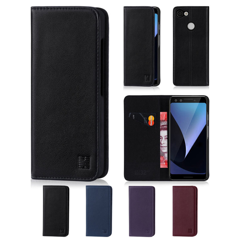 Google Pixel 3 'Classic Series' Real Leather Book Wallet Case