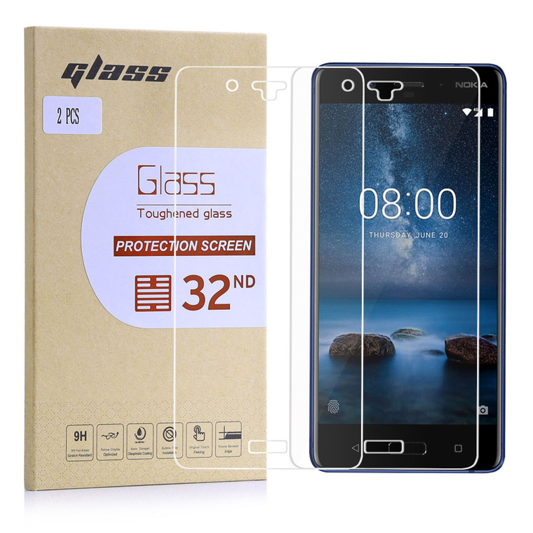 Nokia 8 (2017) Tempered Glass Screen Protector - 2 Pack