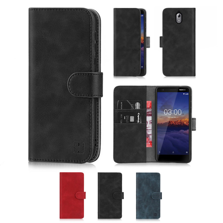 Nokia 3.1 (2018) 'Essential Series' PU Leather Wallet Case Cover