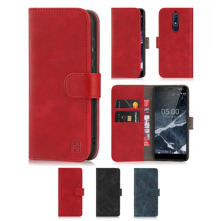 Nokia 5.1 (2018) 'Essential Series' PU Leather Wallet Case Cover