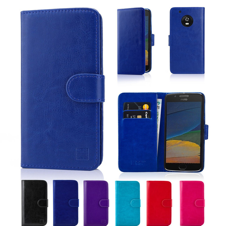 Motorola Moto E5 'Book Series' PU Leather Wallet Case Cover