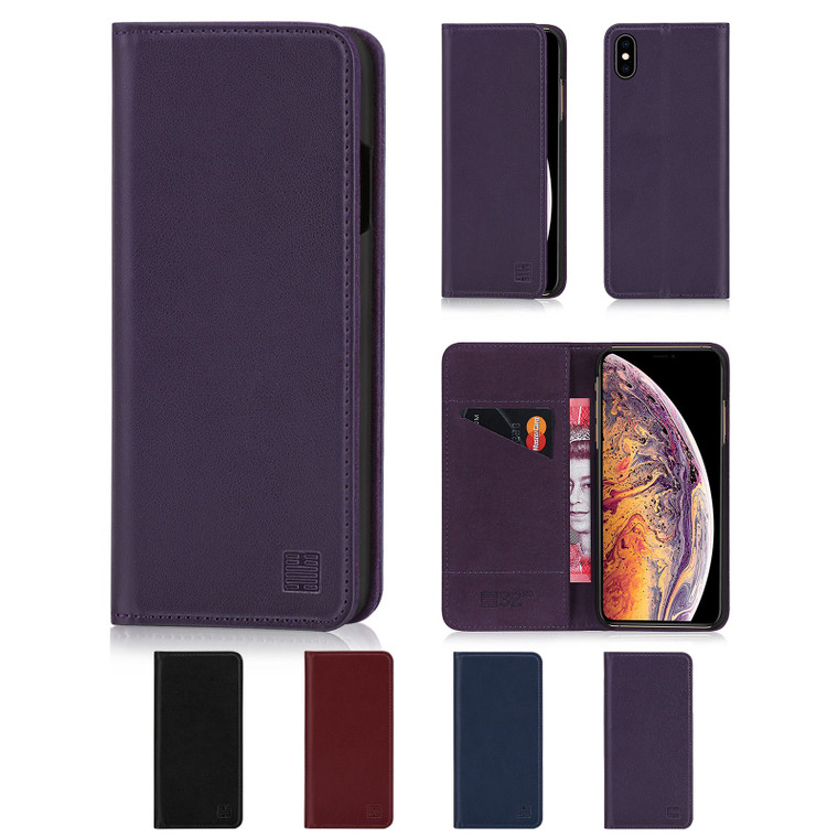 Apple iPhone XS Max 'Classic Series' Real Leather Book Wallet Case