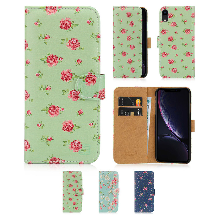 Apple iPhone XR 'Floral Series' PU Leather Design Book Wallet Case