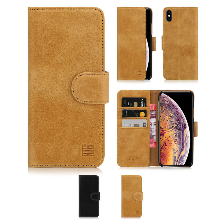 Apple iPhone XS Max 'Premium Series' Real Leather Book Wallet Case