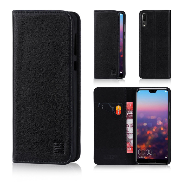 Huawei Honor 10 'Classic Series' Real Leather Book Wallet Case - Black