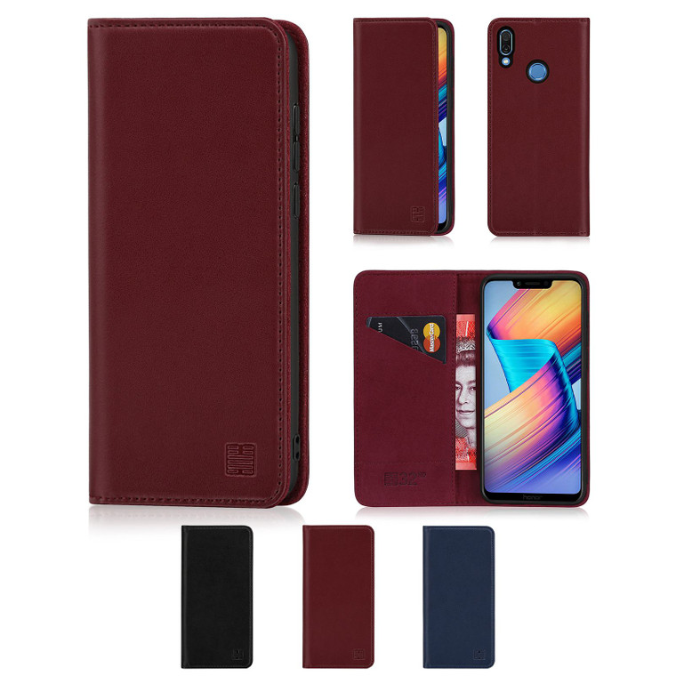 Huawei Honor Play 'Classic Series' Real Leather Book Wallet Case