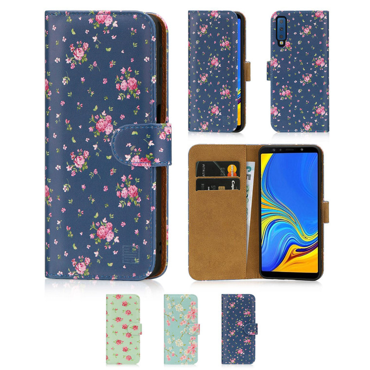 Samsung Galaxy A7 (2018) 'Floral Series' PU Leather Design Book Wallet Case