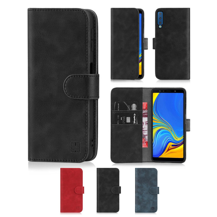 Samsung Galaxy A7 (2018) 'Essential Series' PU Leather Wallet Case Cover