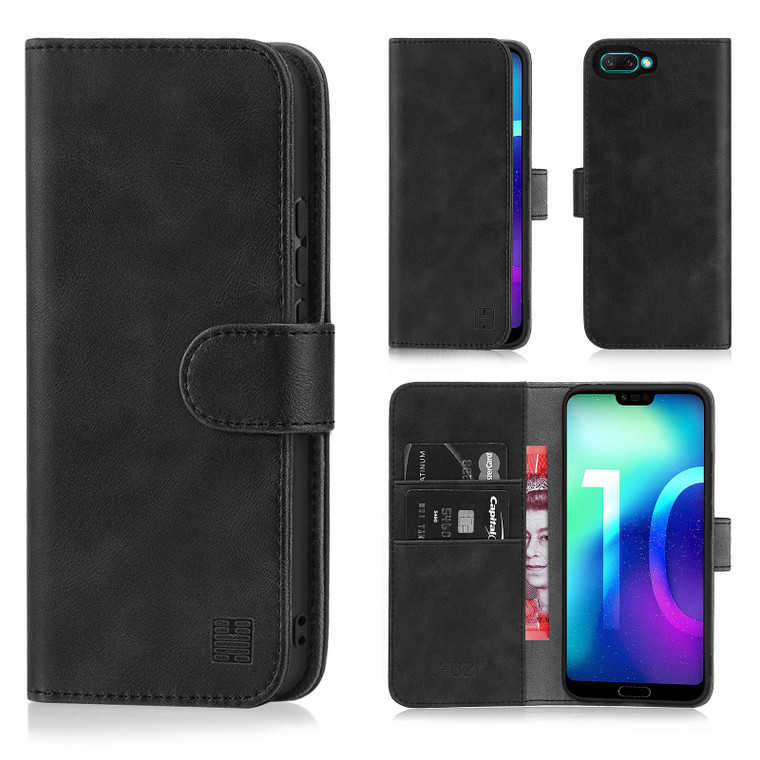 Huawei Honor 10 'Essential Series' PU Leather Wallet Case Cover - Black