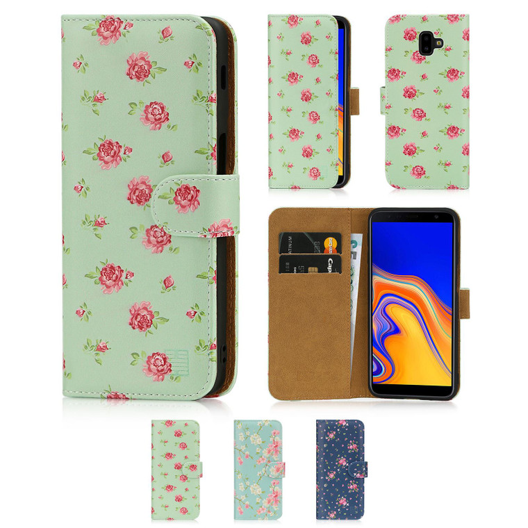 Samsung Galaxy J6 Plus (2018) 'Floral Series' PU Leather Design Book Wallet Case