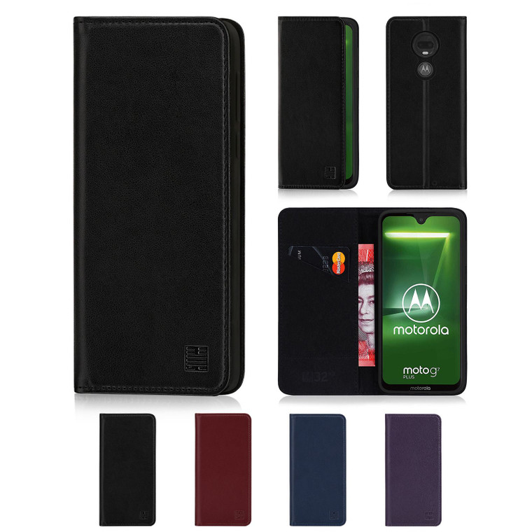 Motorola Moto G7 & G7 Plus  'Classic Series' Real Leather Book Wallet Case