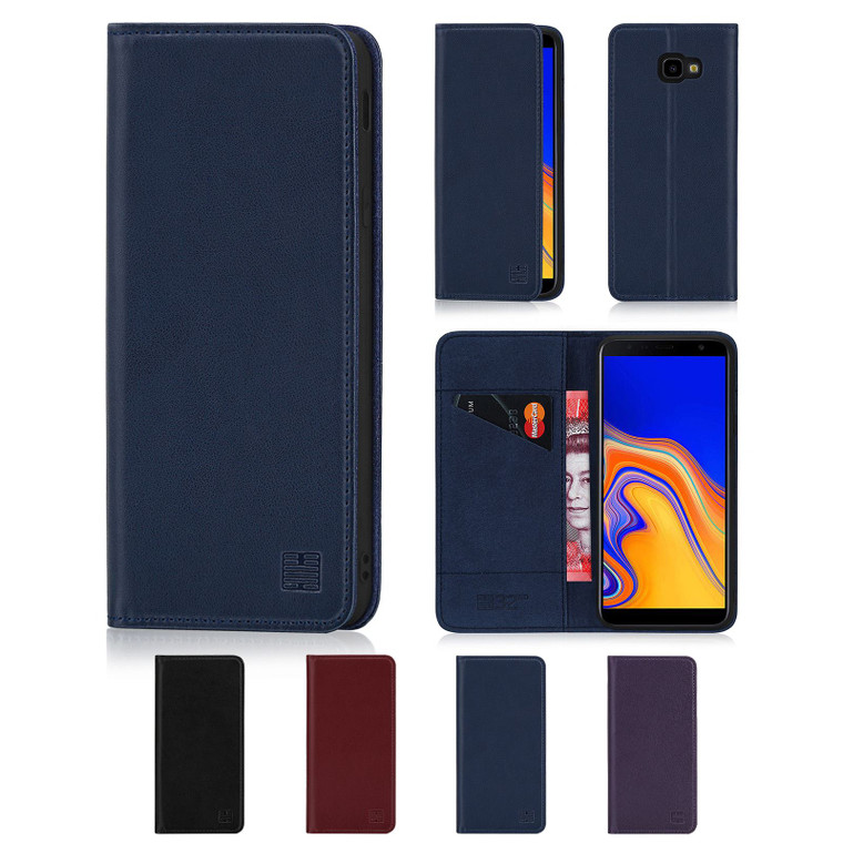 Samsung Galaxy J4 Plus (2018) 'Classic Series' Real Leather Book Wallet Case