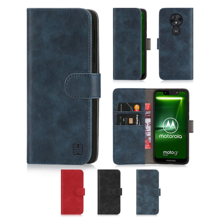Motorola Moto G7 Play 'Essential Series' PU Leather Wallet Case Cover