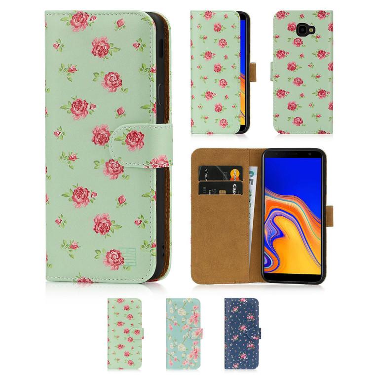 Samsung Galaxy J4 Plus (2018) 'Floral Series' PU Leather Design Book Wallet Case