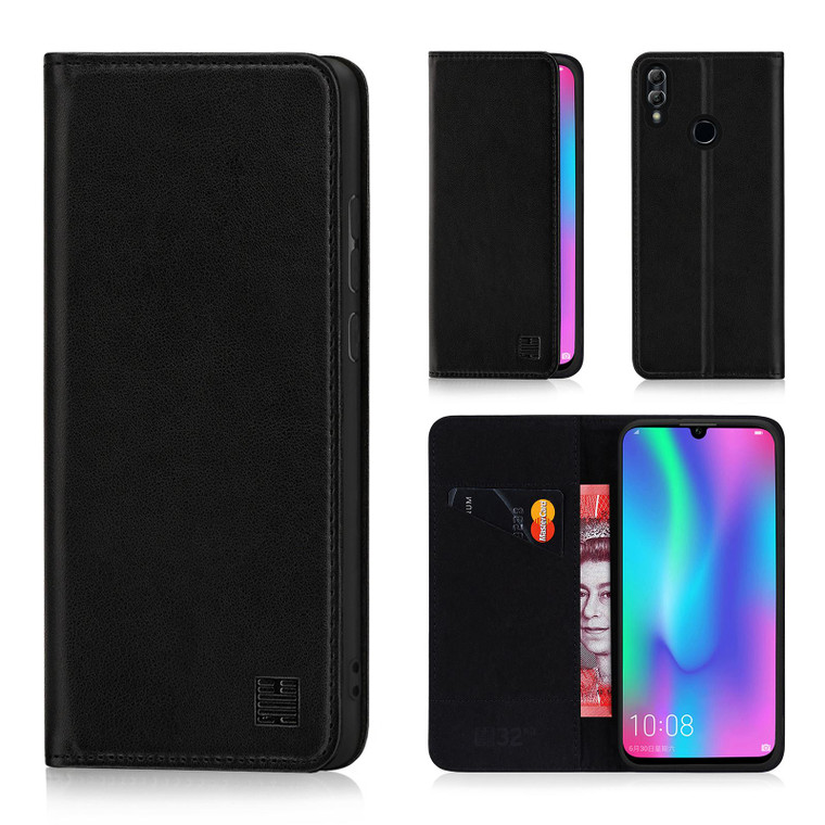 Huawei Honor 10 Lite 'Classic Series' Real Leather Book Wallet Case – Black