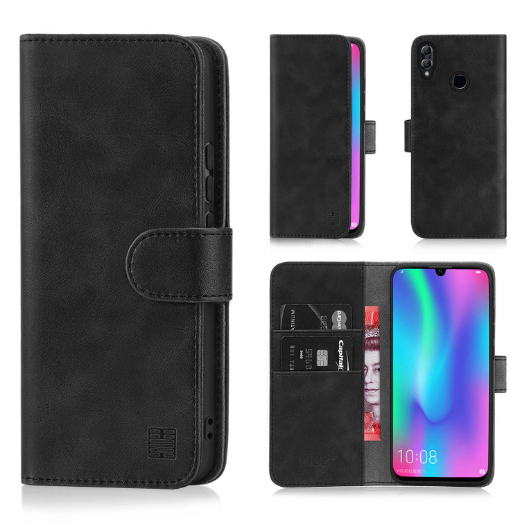 Huawei Honor 10 Lite 'Essential Series' PU Leather Wallet Case Cover – Black