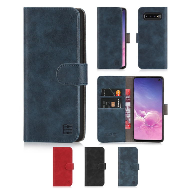 Samsung Galaxy S10 'Essential Series' PU Leather Wallet Case Cover