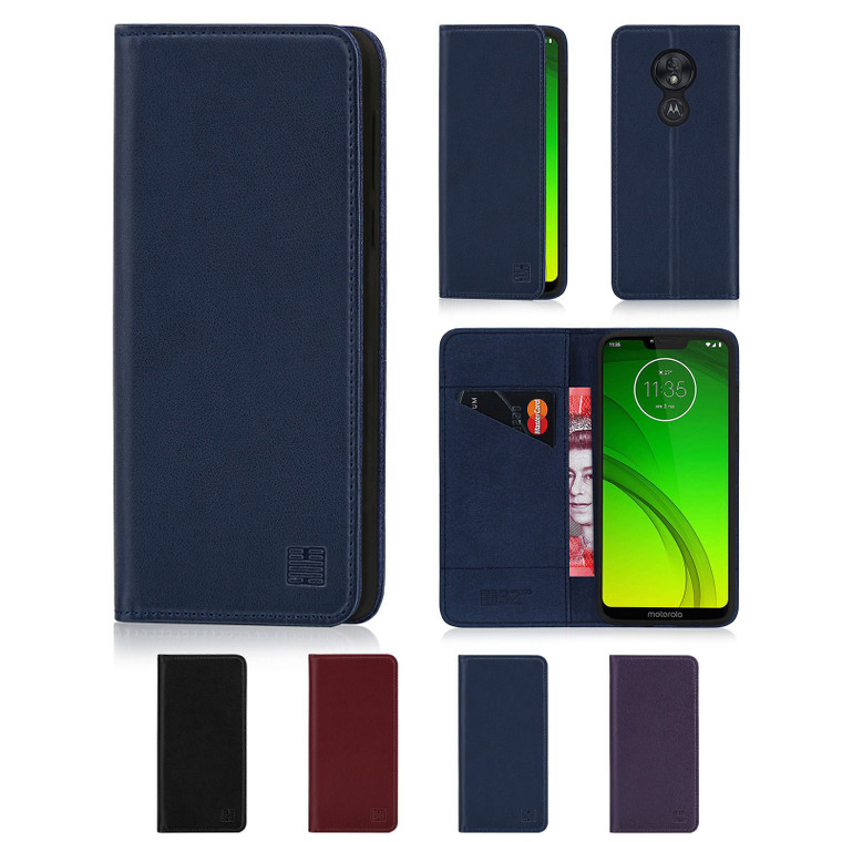 Motorola Moto G7 Power 'Classic Series' Real Leather Book Wallet Case