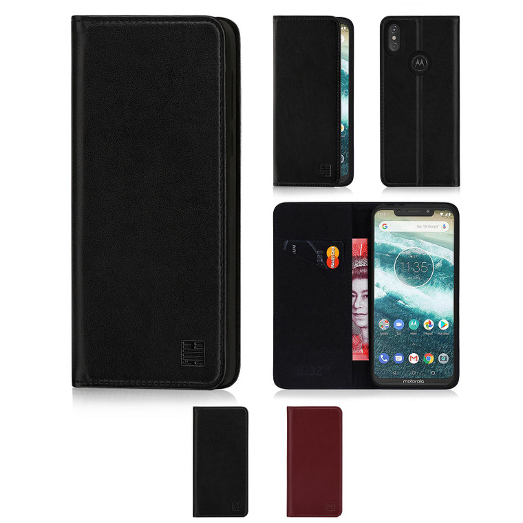 Motorola Moto One (Moto P30) 'Classic Series' Real Leather Book Wallet Case