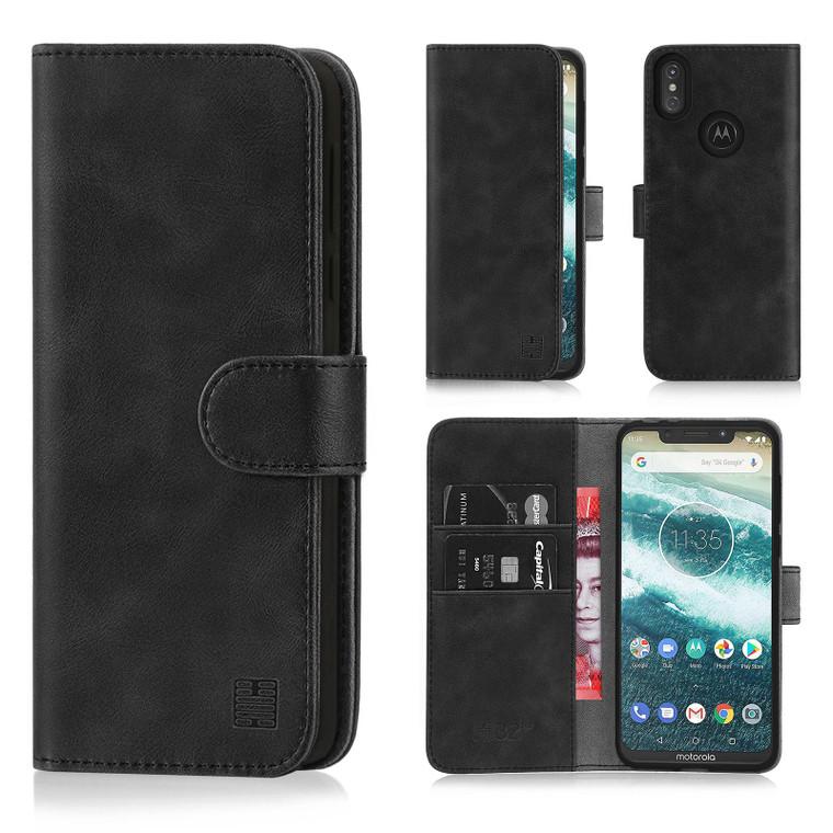 Motorola Moto One (Moto P30) 'Essential Series' PU Leather Wallet Case Cover