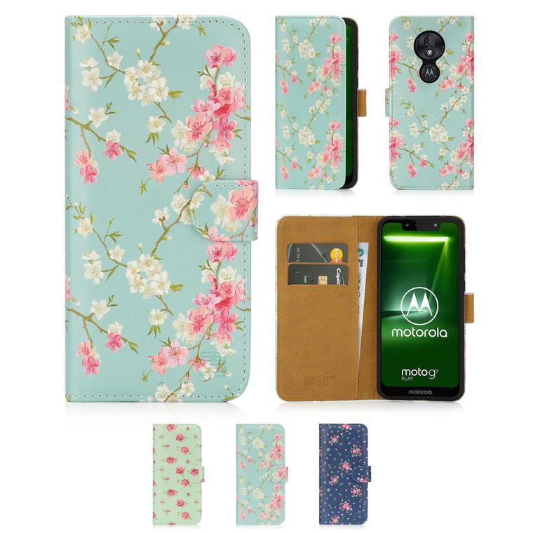 Motorola Moto G7 Play 'Floral Series' PU Leather Design Book Wallet Case