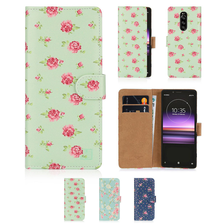 Sony Xperia 1 (2019) 'Floral Series' PU Leather Design Book Wallet Case