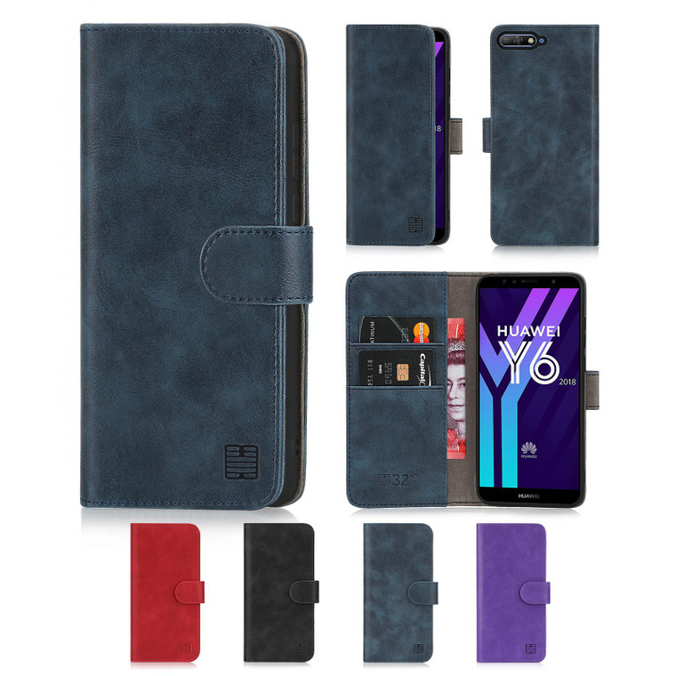 Huawei Y6 (2018) 'Essential Series' PU Leather Wallet Case Cover