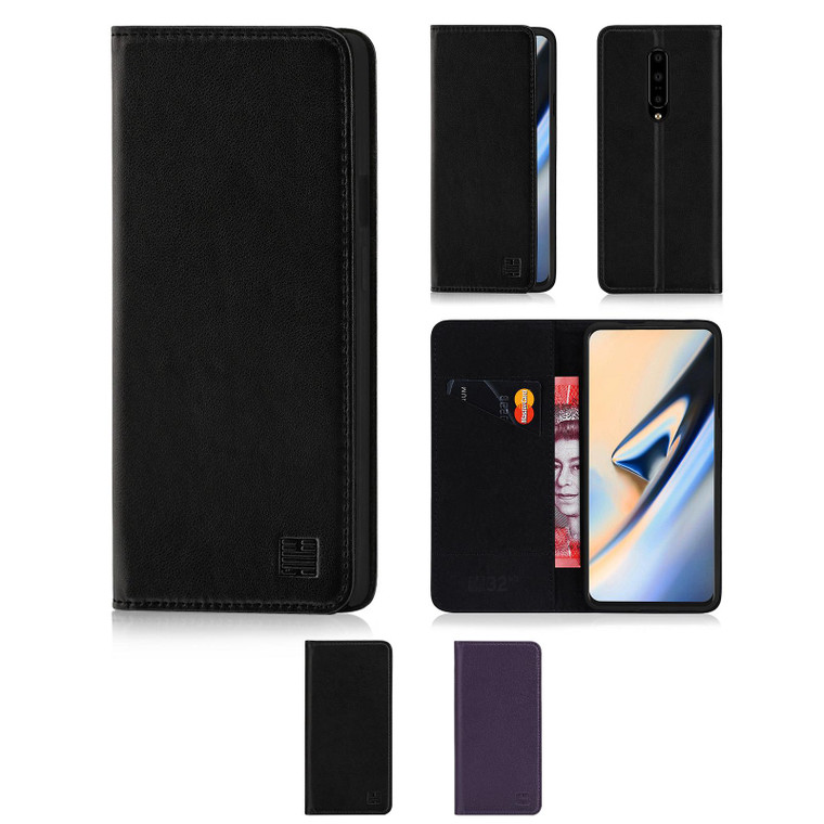 OnePlus 7 'Classic Series' Real Leather Book Wallet Case