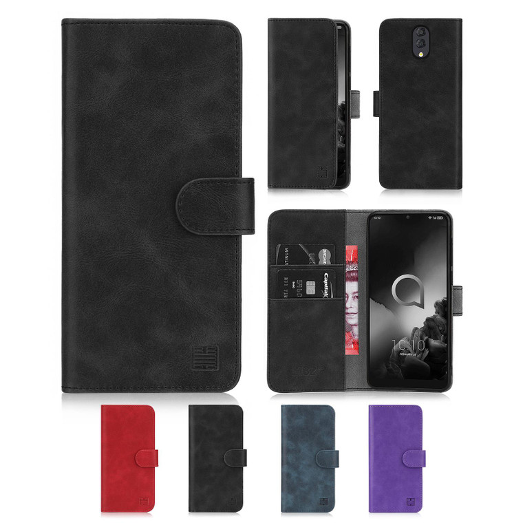 Alcatel 3 & 3L (2019) 'Essential Series' PU Leather Wallet Case Cover